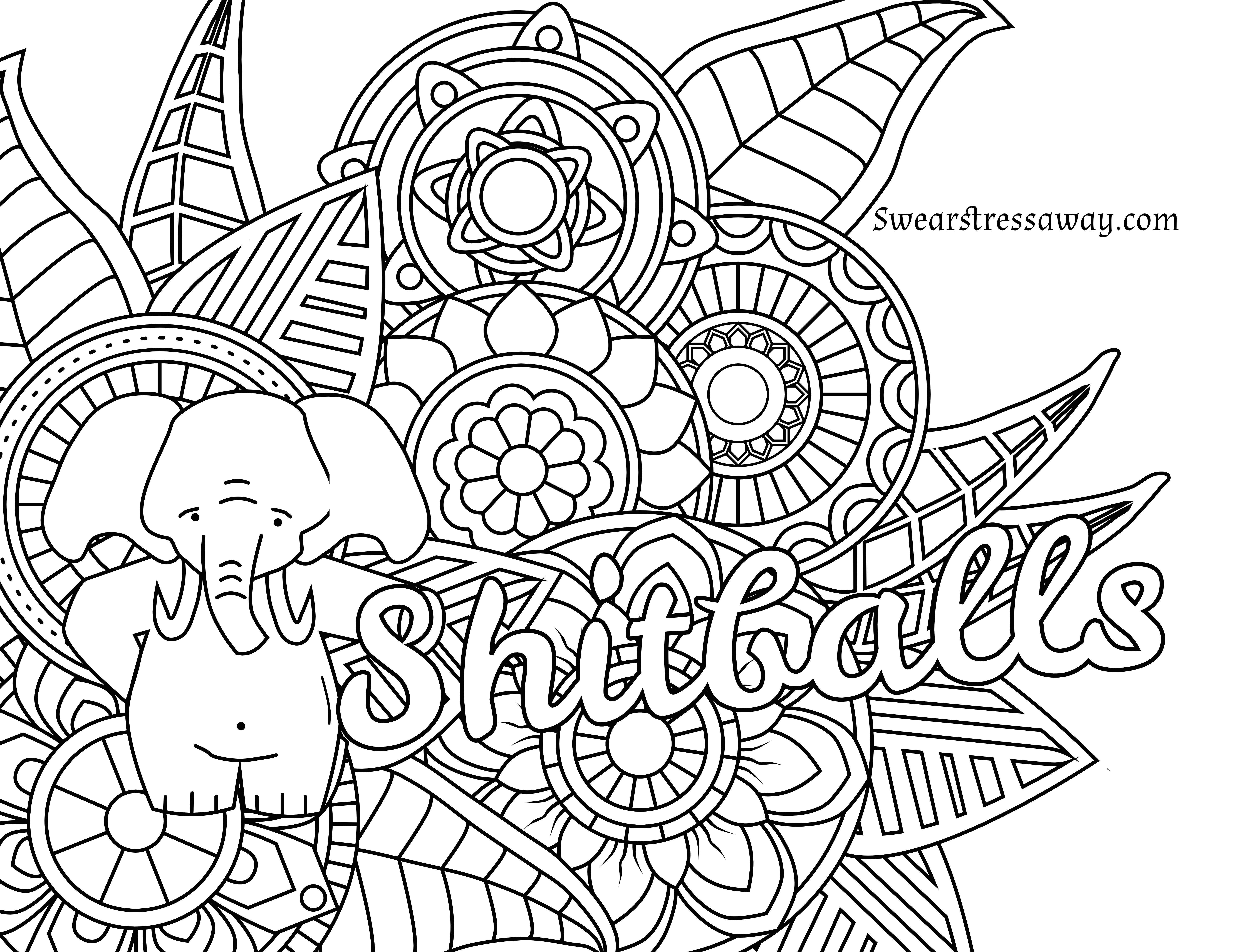 free printable coloring page - shitballs - swear word
