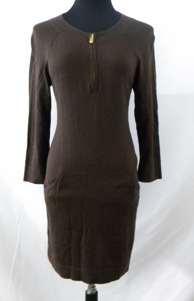 Michael Kors Dark Brown Thin Knit Stretchy Sweater Dress Medium ...