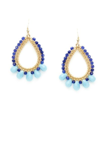 Avery Earrings by KEP at Gilt. Dark and light blue with gold beaded earrings.