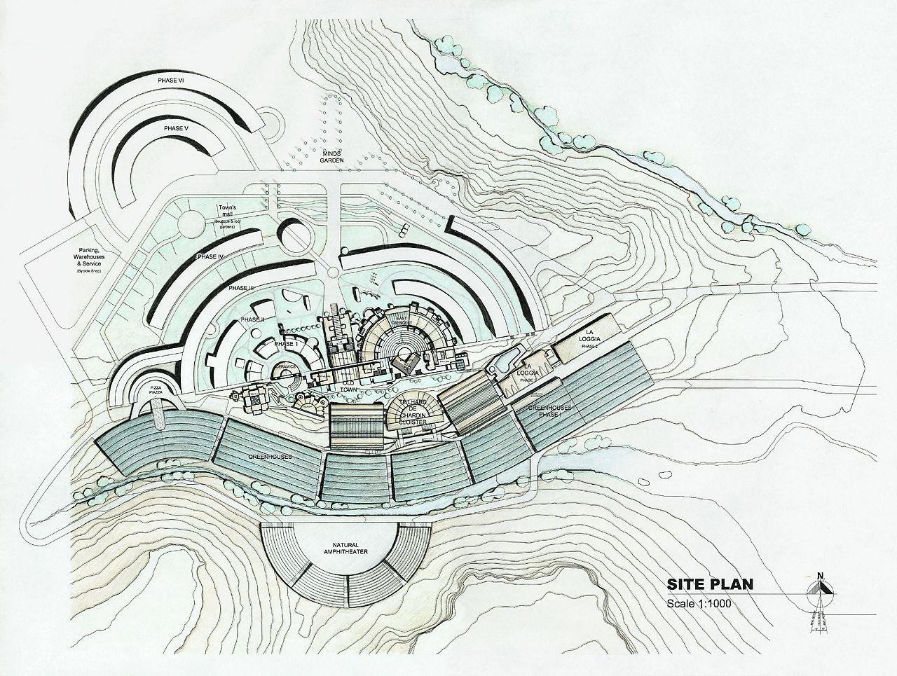 Afbeeldingsresultaat voor arcosanti architect plan