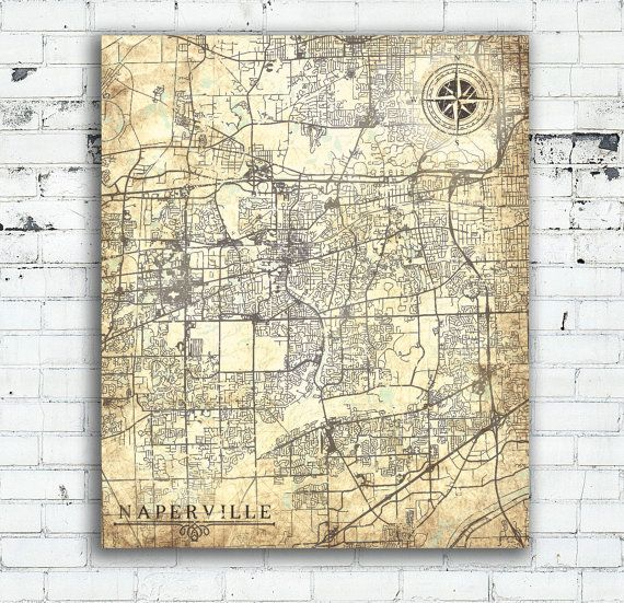 NAPERVILLE IL Canvas Print Illinois Naperville Il Town Plan City