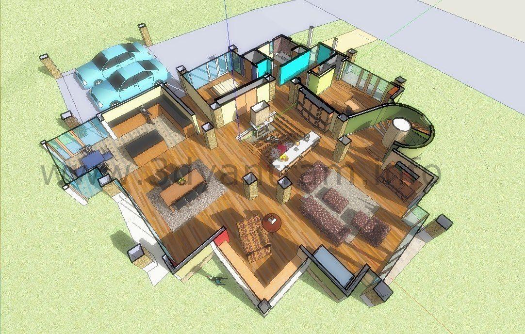 Sketch Up 3d Floor Plan Design Perth Australia Denah Pinterest