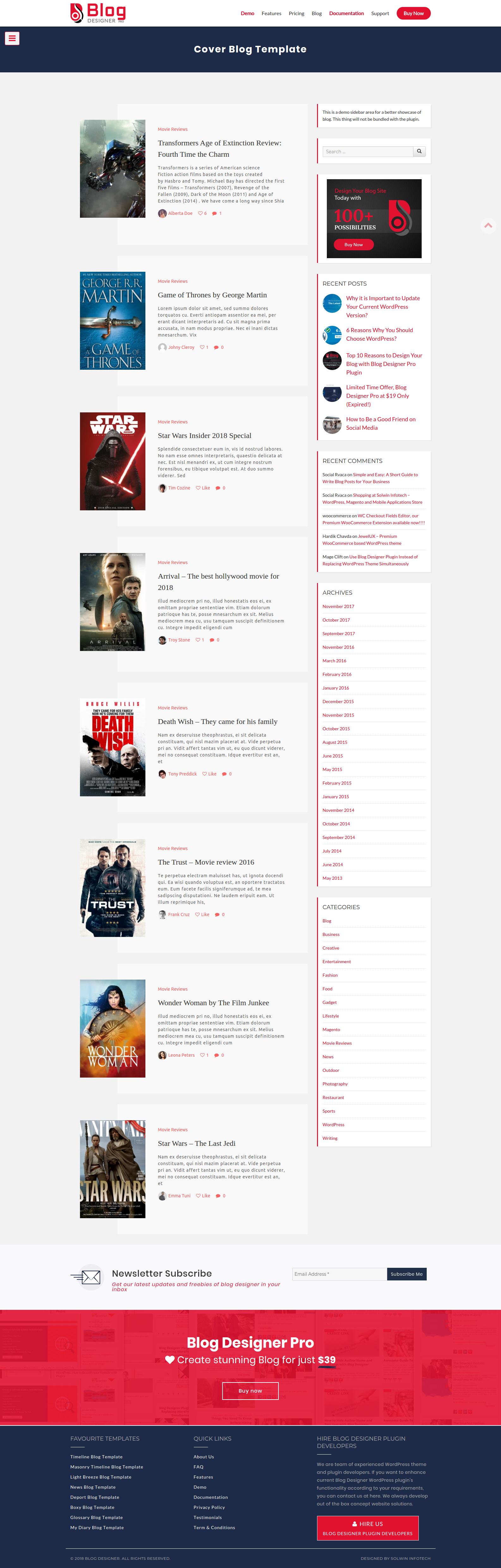 Cover Blog Template Wordpress Plugins Pinterest
