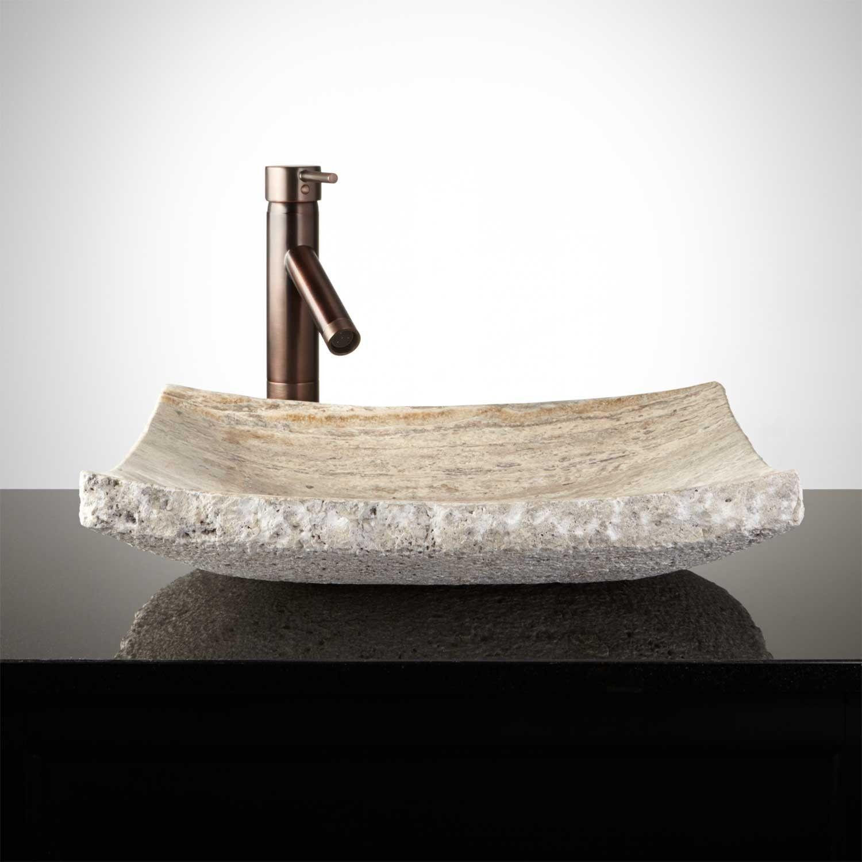 Curved Rectangular Travertine Vessel Sink Chiseled Edge Vessel