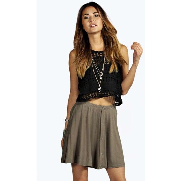 Boohoo Bryony Button Front 90's Grunge Skater Skirt ($10) ❤ liked on Polyvore featuring skirts, khaki, a line skirt, brown skirt, midi circle skirt, khaki skirt and brown skater skirt