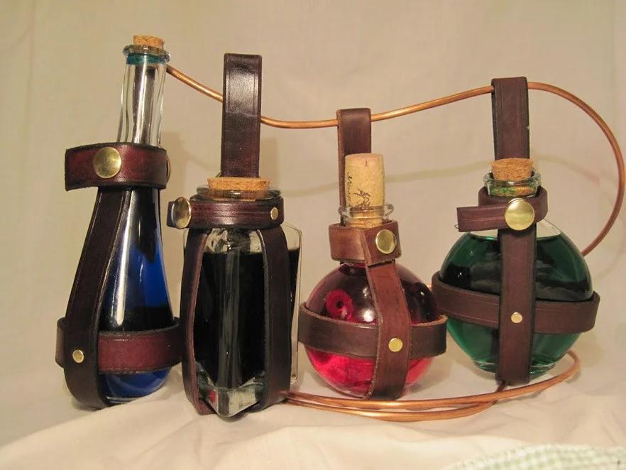 Leather Potion Bottle Holder Steampunk Accessories Steampunk Steampunk Crafts