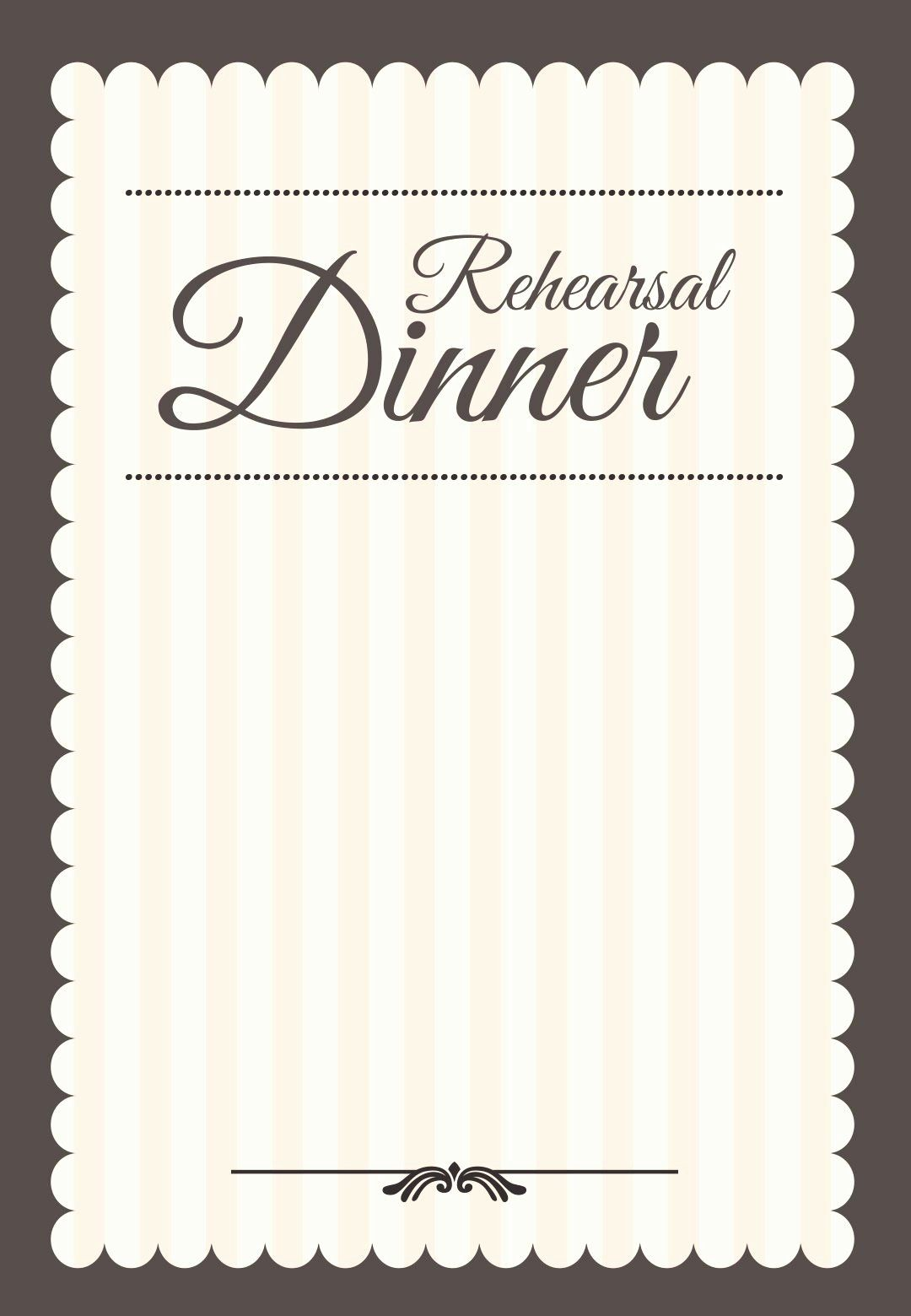 Wedding Rehearsal Dinner Invitation Template Elegant Stamped