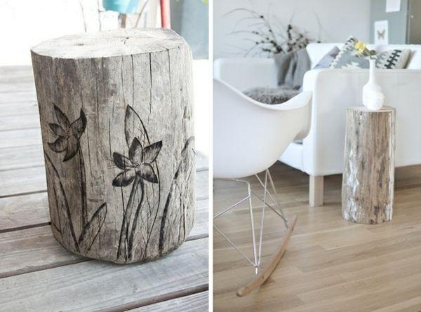 baumstamm tisch selber machen bemalen wohnzimmer coffee table design round metal side table