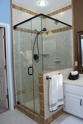 half wall shower enclosure - oil rub bronze door frame | Half Wall ...