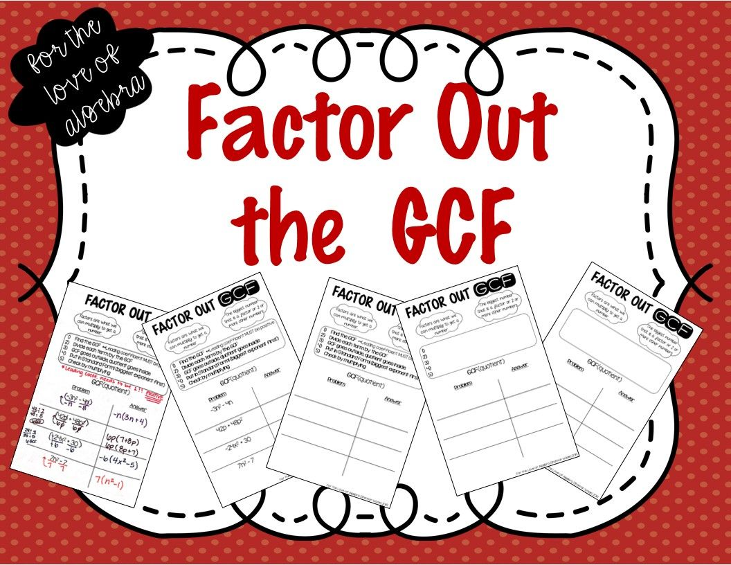 Factoring Out A Gcf Gse Algebra 1