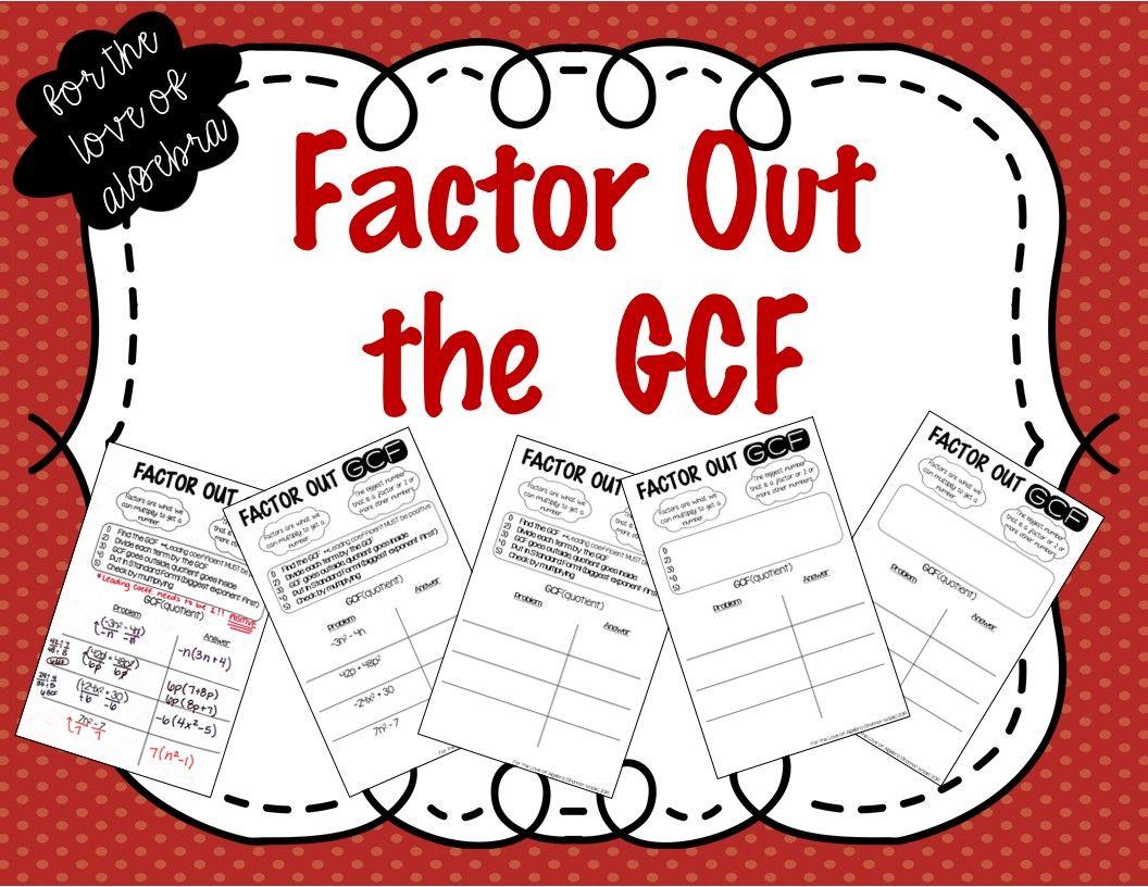 Factoring Out A Gcf Gse Algebra 1
