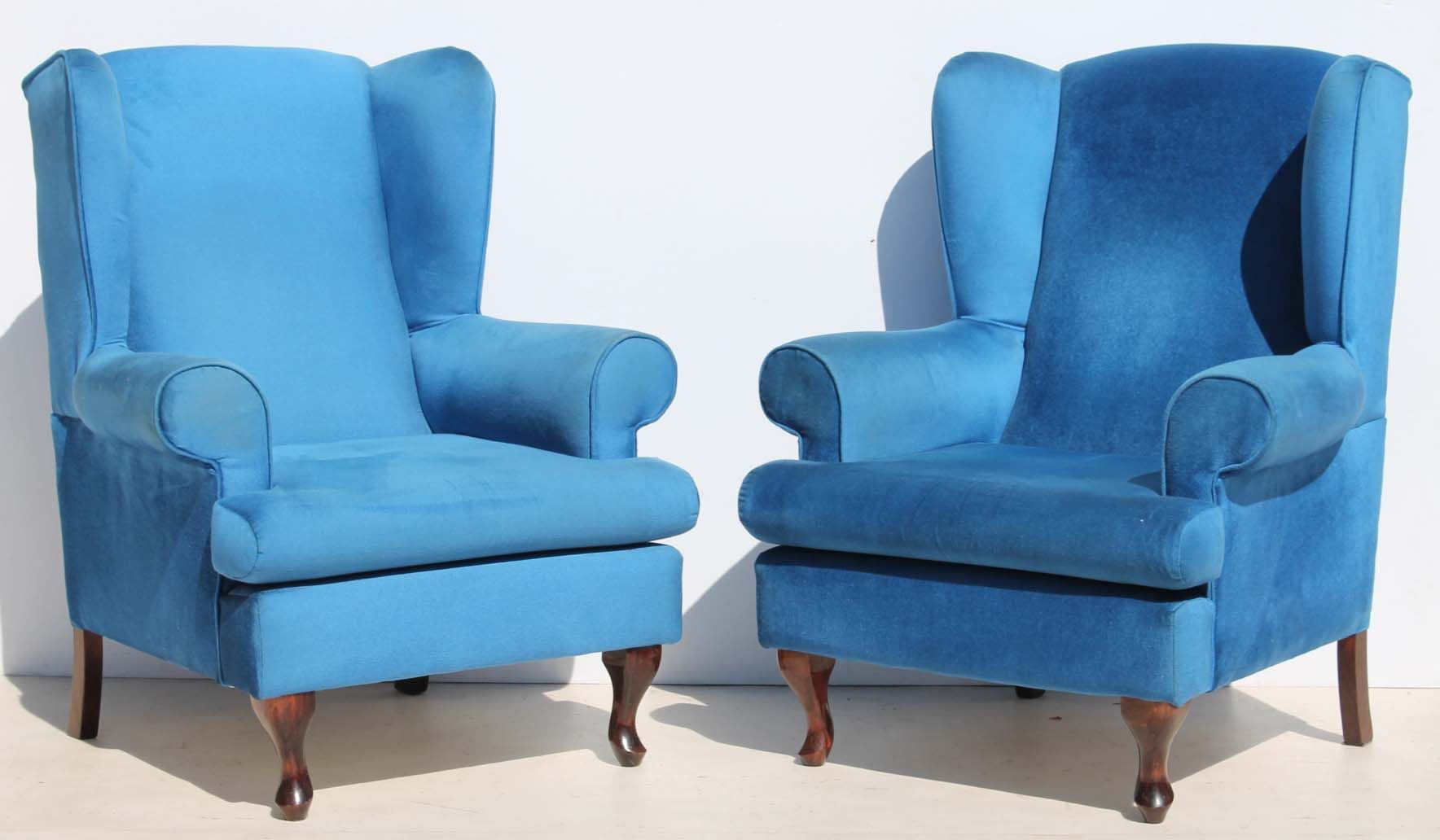 2 Blue Queen Anne Wingback Chairs Condition: Used 2 Blue Queen Anne Wingback  Chairs Size