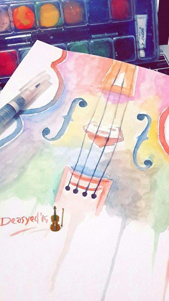 Watercolor Painting Violin