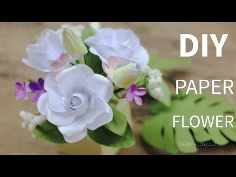Free Template How To Make Paper Gardenia And Paper Foliage From Printer Paper Youtube ดอกไม กระดาษ