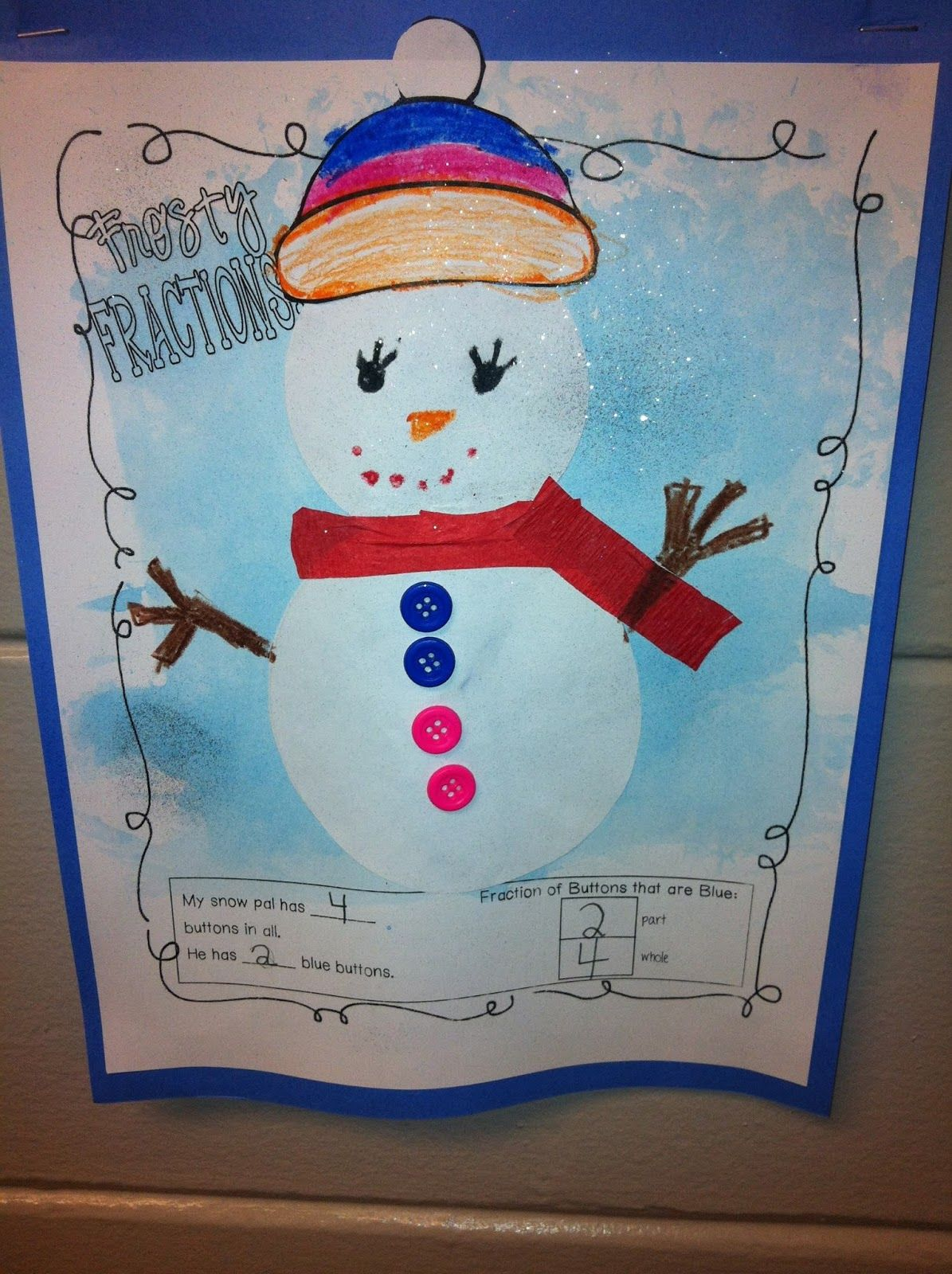 Frosty Fractions Fun Winter Math Craftivity Students