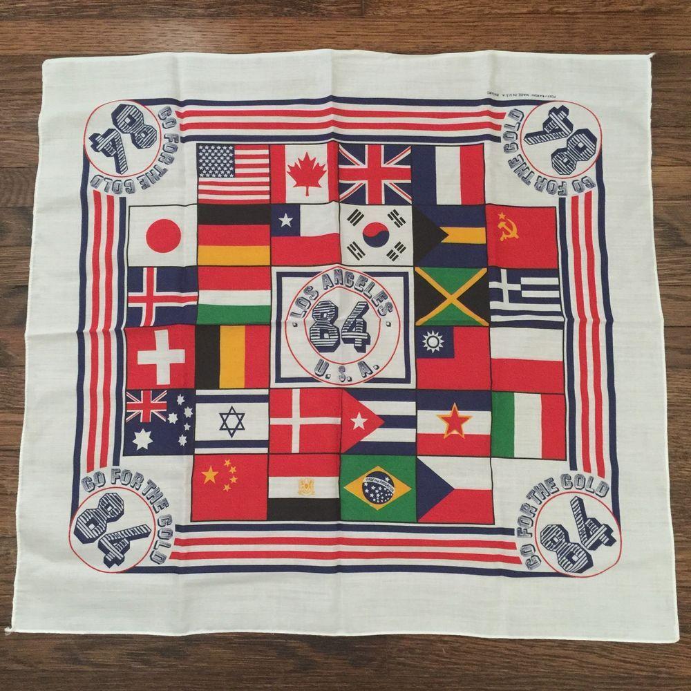 Vintage 1984 Summer Olympics Los Angeles Go for The Gold Bandana Scarf USA | eBay