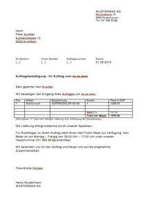 Auftragsbestätigung Vorlage | Muster und Vorlagen | Pinterest ...