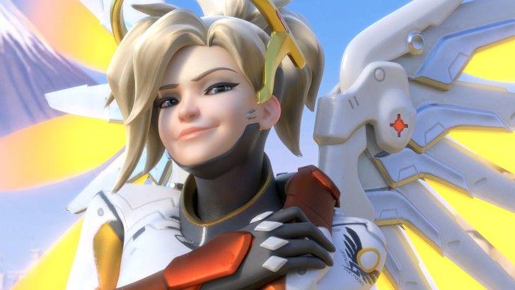 Mercy Smirk Smile Overwatch Beautiful Girl Wallpaper