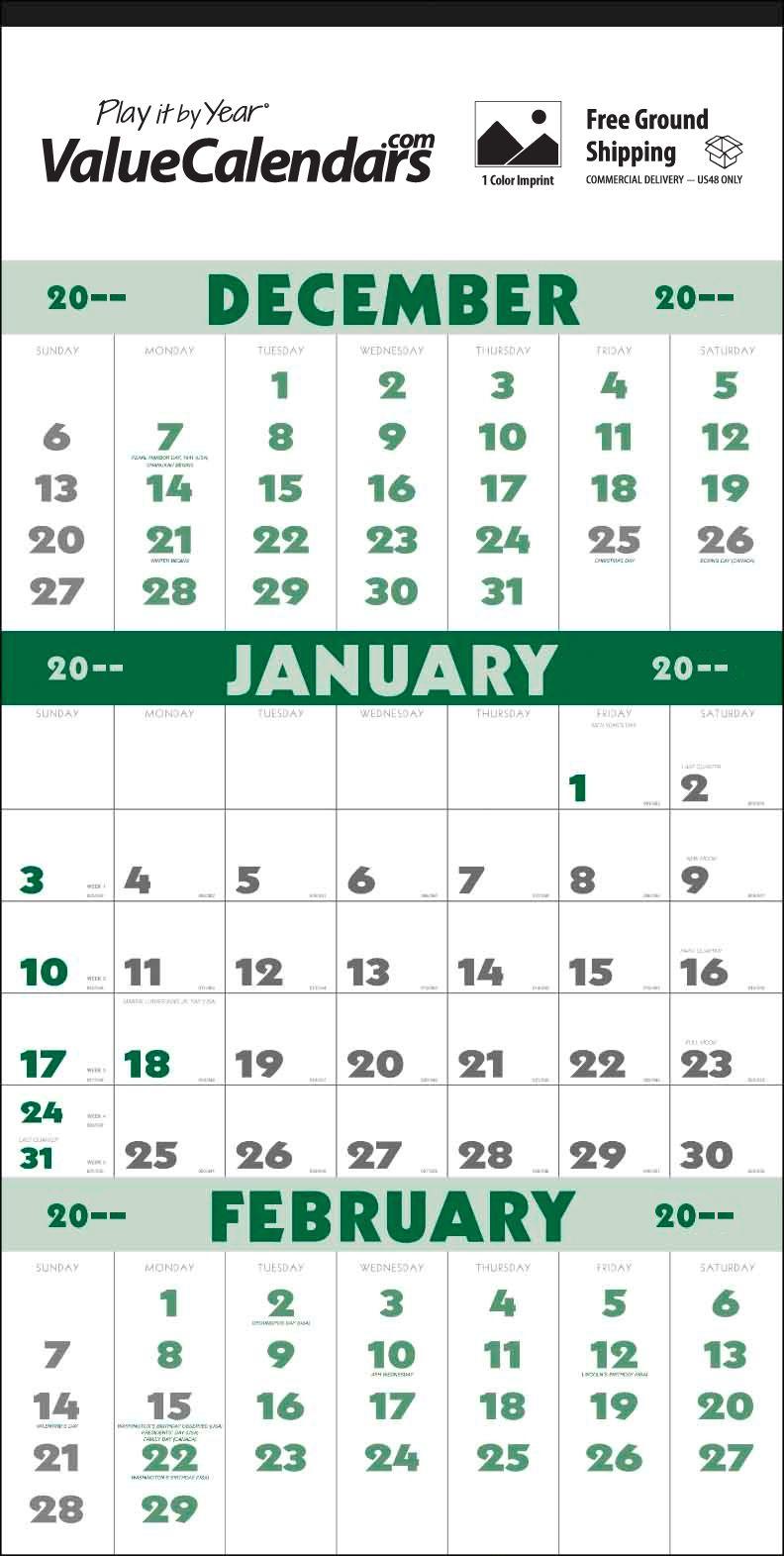 2017 3 Month Planner 12 Sheet Calendar 13 X 25