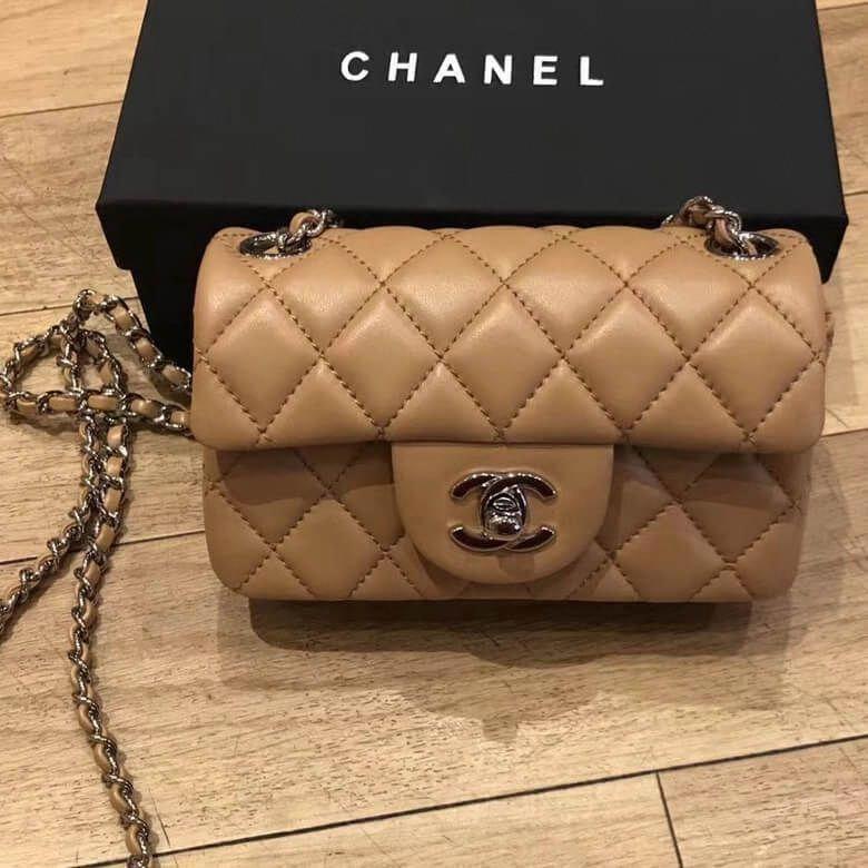 cf9dff299 Chanel Extra Mini Classic Flap Bag in Quilting Lambskin Beige 2018  #Chanelhandbags