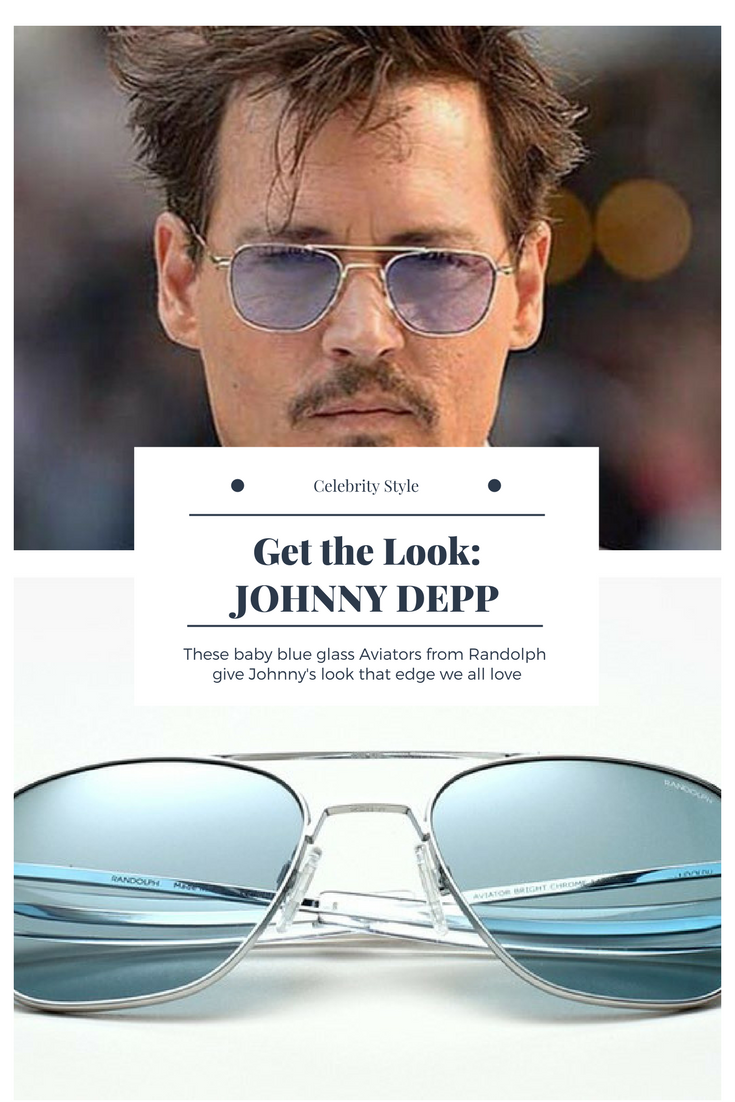 8075b020f3ef53 Get the edgy look Johnny Depp rocks, with these baby blue glass Aviator  sunglasses from Randolph. Photo  over the classic