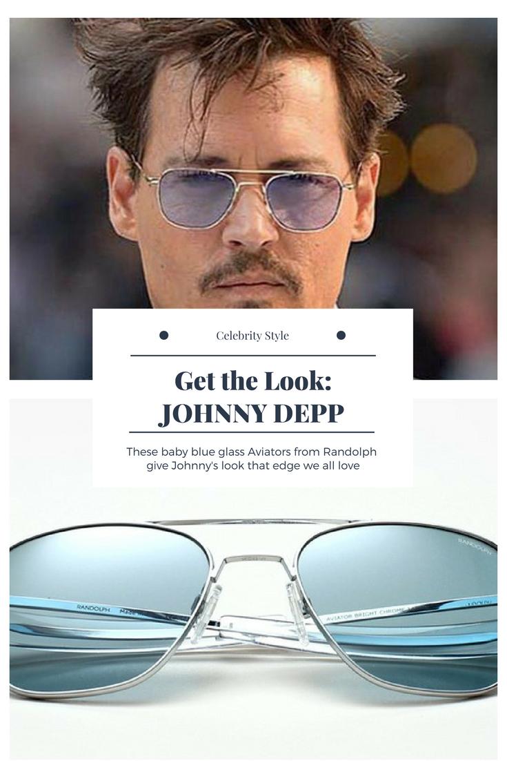 a0e27e0592c Johnny Depp Aviator Sunglasses with Blue Glass Lenses