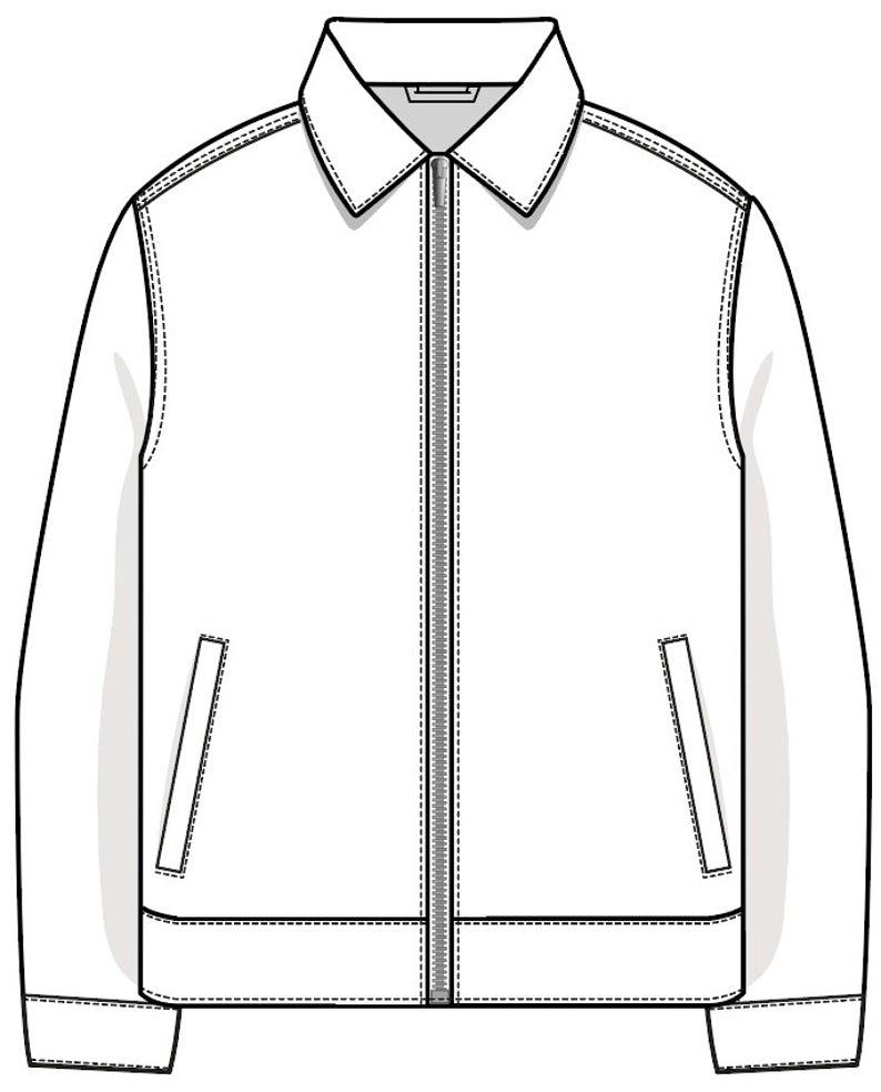 Vector Mens Harrington Coach Jacket Svg Flat Sketch Digital Download For Use With Adobe Illustrator Flat Sketches Mens Jacket Pattern Fashion Design Sketchbook