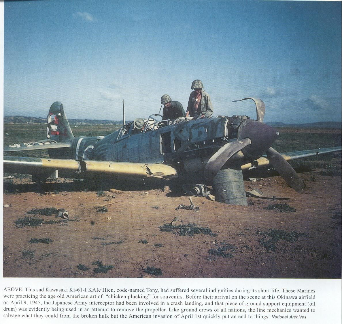 US Marines checking out an Imperial Japanese fighter aircraft