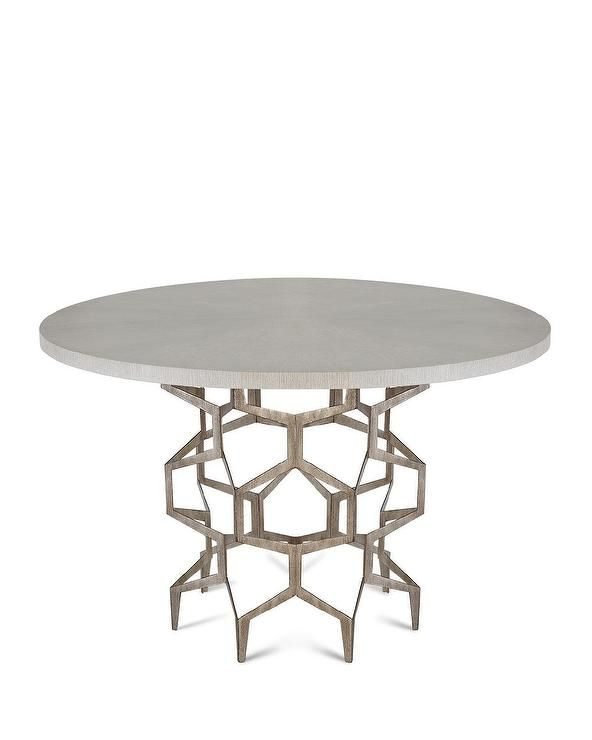 Mariko Hex Steel Oak Round Dining Table
