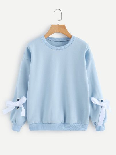 Adorable Baby Blue Crew Neck With Matching Baby Blue Ribbon On The Cuffs Of The Sleeves Sweatshirts Women Casual Tops For Women Embroidered Denim Jacket