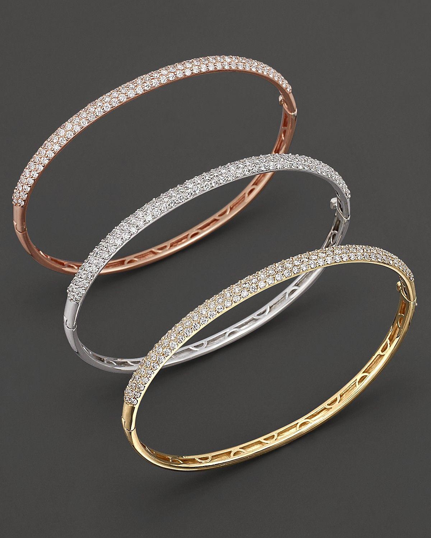 Pavé diamond bangle in kt yellow gold ct tw