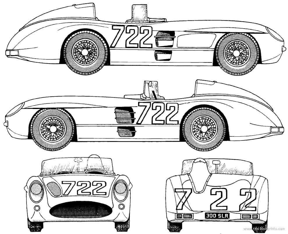 Blueprintsmercedes benz 300slr mille miglia 1955 car art blueprintsmercedes benz 300slr mille miglia 1955 malvernweather Choice Image