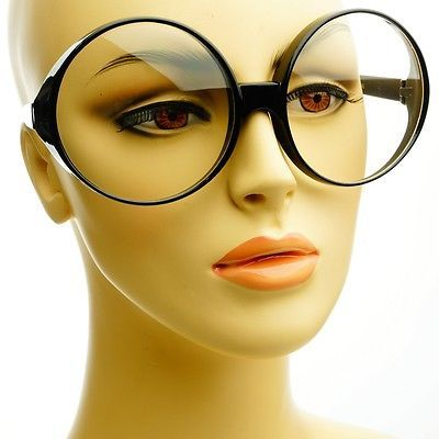 bac06beb0fc5 Womens Large Vintage Retro Clear Lens Round Oversized Frames Eye Glasses  Black