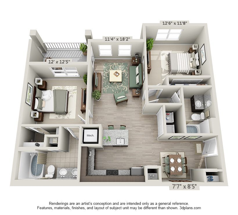 The Grant!!!! 2x2 1088 SF $1250 a month Small house Pinterest