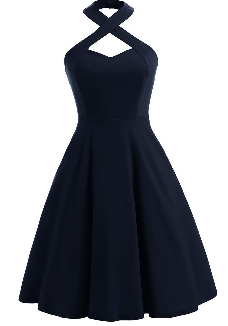 Vintage Halter Skater Dress   – Products #cute dress vintage #cute dress aesthet…