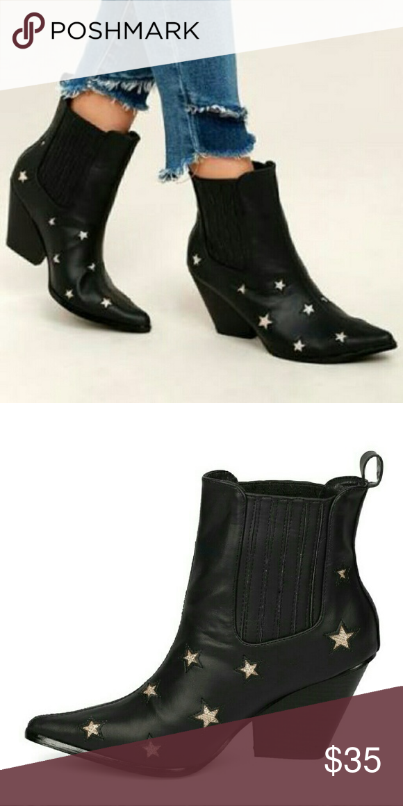 f84d9d7d2a0 Cape Robbin Kelsey Pointy toe glitter stars. Cape Robbin Kelsey Pointy toe  glitter stars chunky heel boots. NWT IN BOX Shoes Ankle Boots   Booties