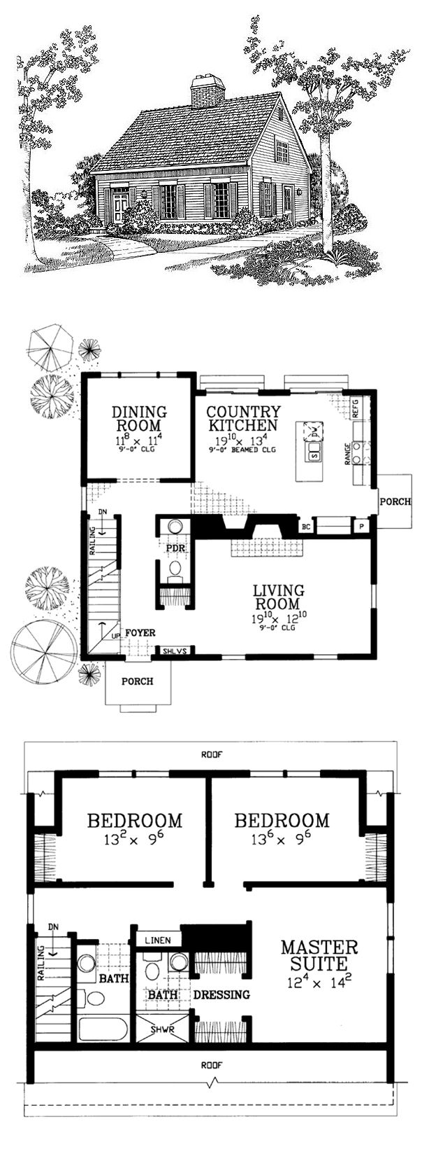 Small Modern Cape Cod House Plan Cathedral Ceiling 1 Car: Total Living Area: 1782 Sq Ft, 3