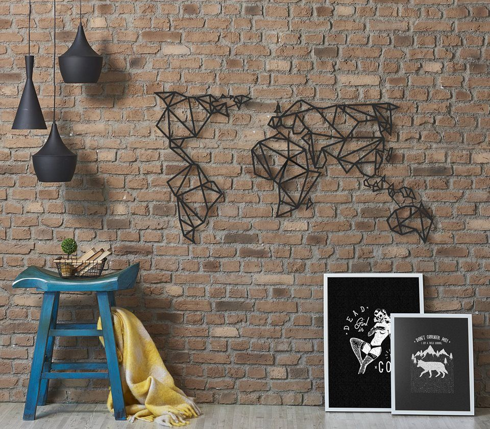deco murale metal carte du monde. Black Bedroom Furniture Sets. Home Design Ideas