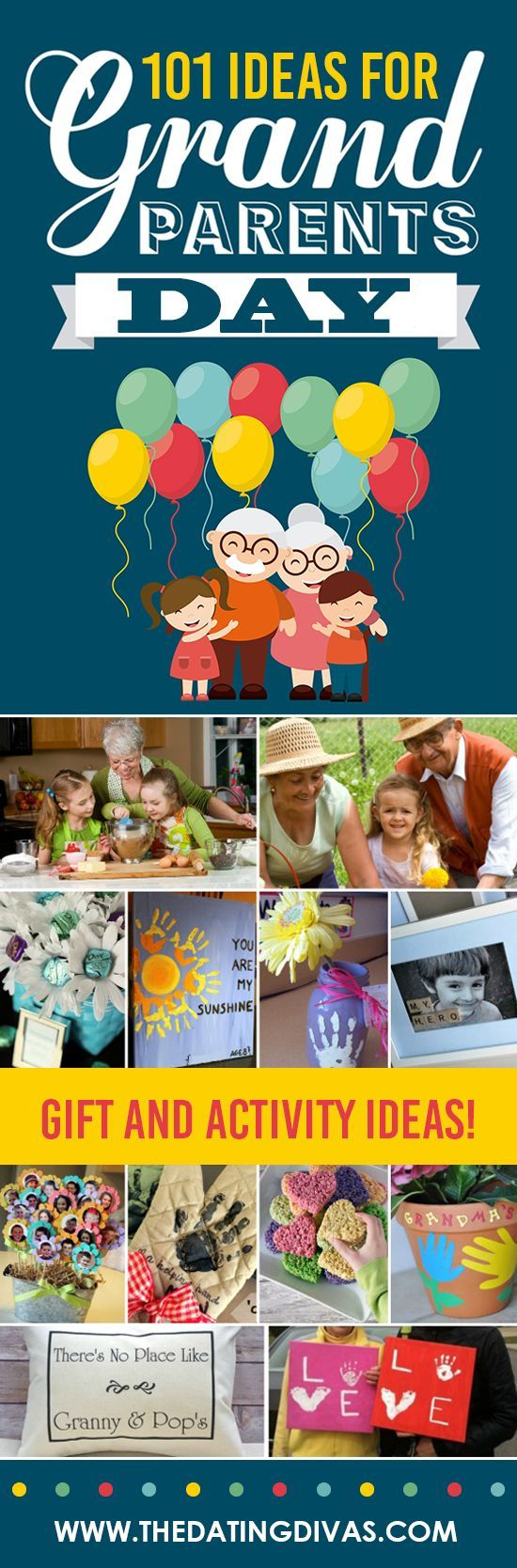 101 Grandparents Day Ideas - From #bestgiftsforgrandparents 101 Ideas for Grandparents Day! Fun activities and gifts for kids to give and do with grandma and grandpa! #grandparentsdaycrafts