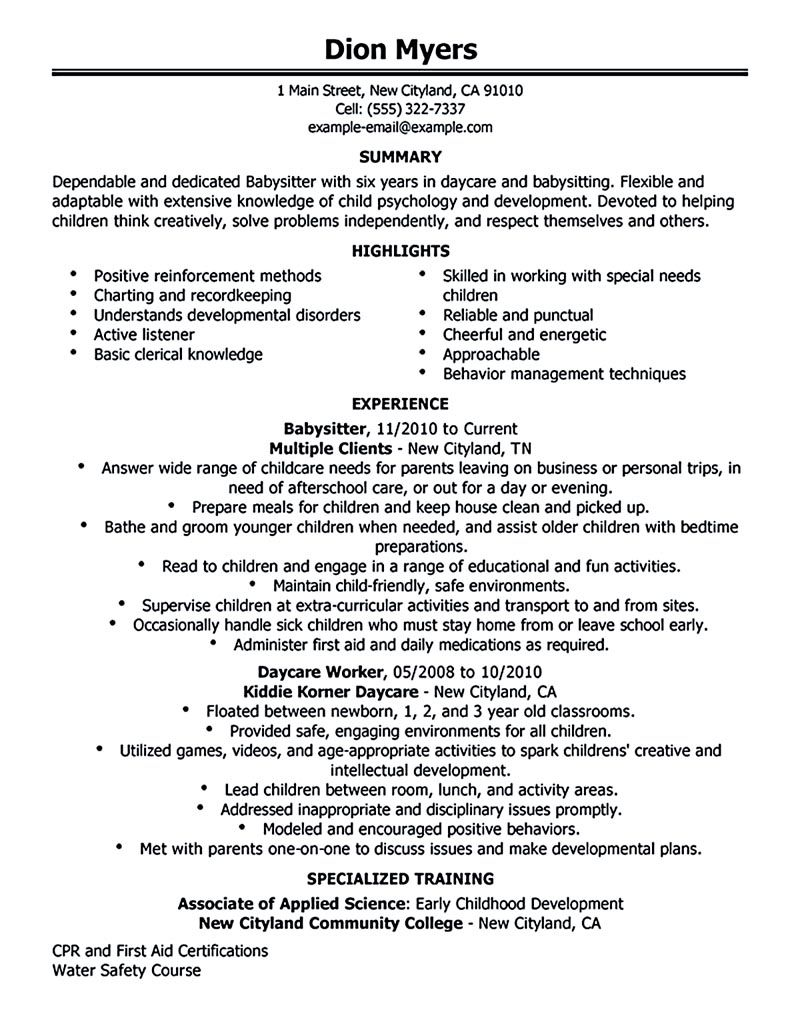 resume for babysitter Babysitter resume is going to help anyone ...
