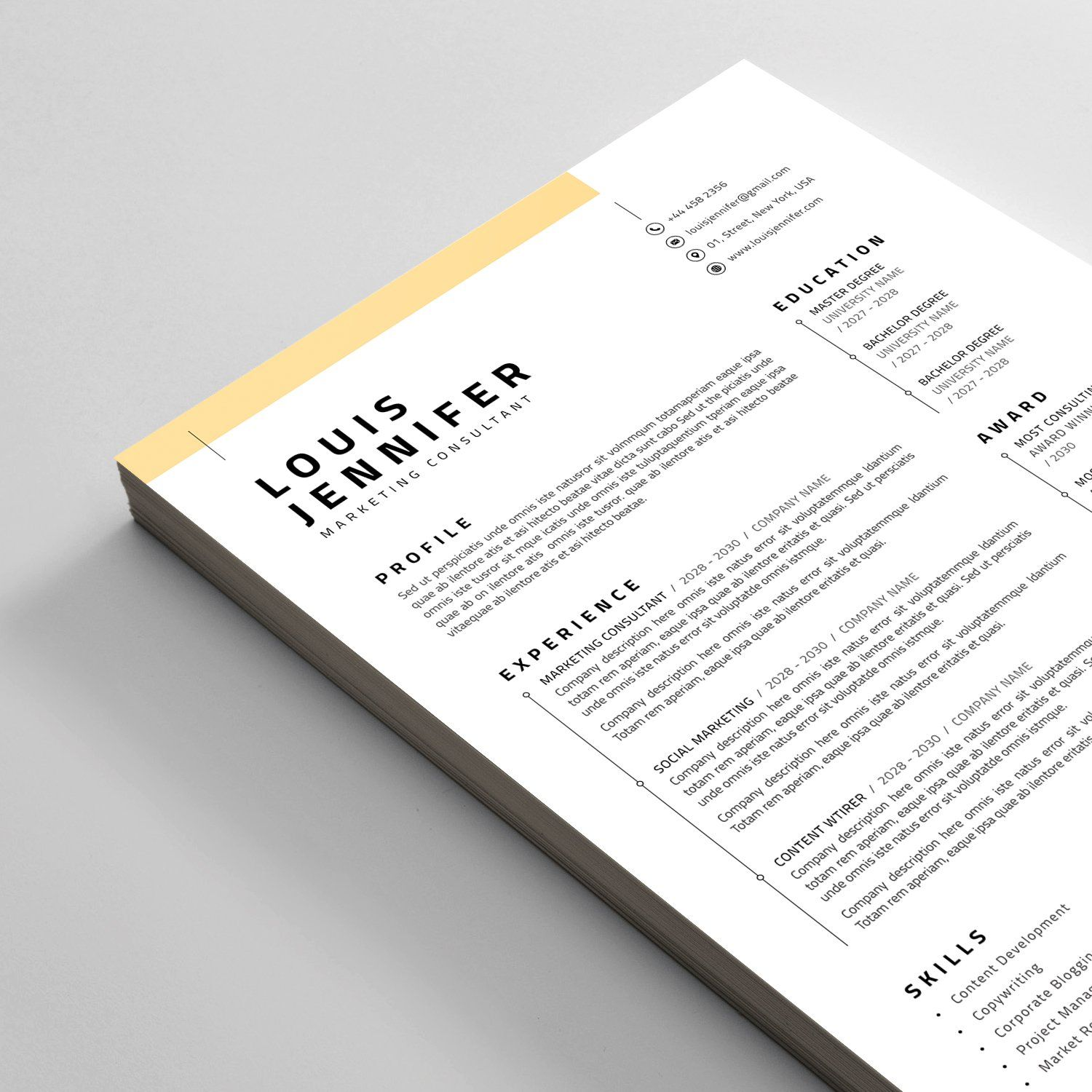Resume Cv Ad Ad Inch Paper Size Bleed Downloadable Resume