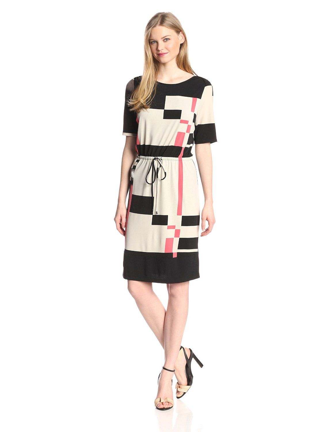 Short Sleeve Printed Blouson Dress by Marc New York by Andrew Marc