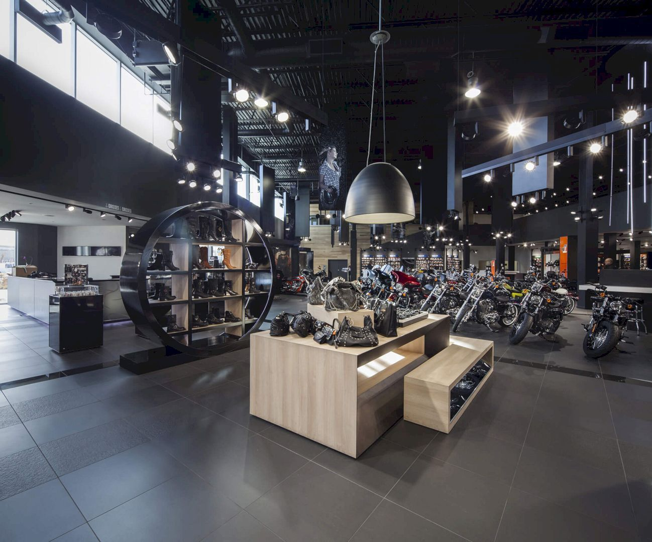 Premont Harley Davidson A New Construction Of An Iconic Large Building Showroom Design Harley Davidson Store Harley Davidson Shop