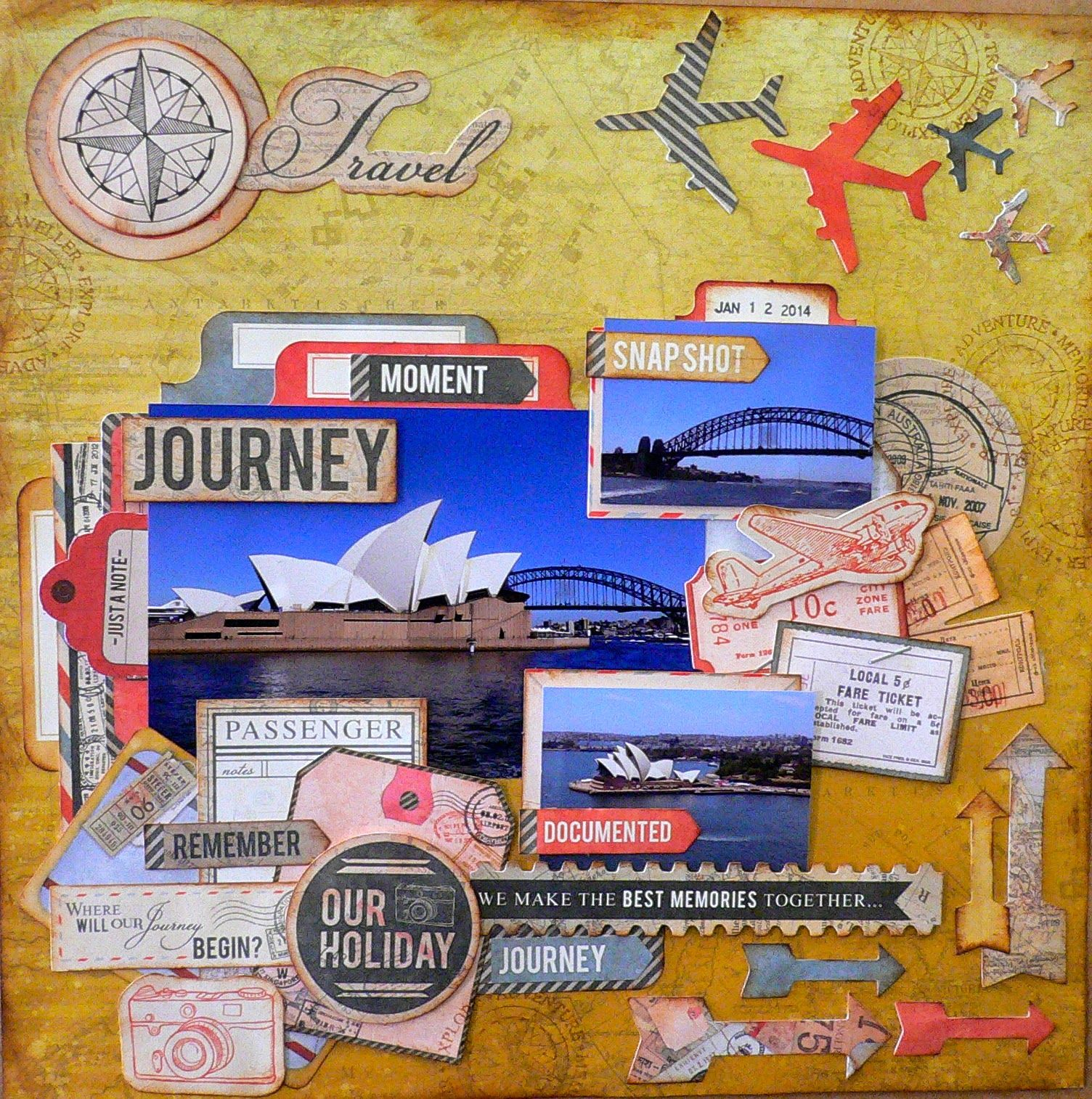 "ADRIANA BOLZON  **  AB  INSPIRATIONS: Australian Scrapbooking Ideas #27 Kaisercraft - ""Now Boarding"" papers and Collectables"