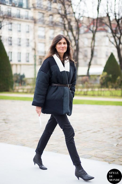 4c8caa428ea Le Fashion Blog 11 Ways To Wear Kitten Heels Emmanuelle Alt Street Style  Belted Quilted Coat Skinny Back Jeans Saint Laurent Lace Up Kitten .