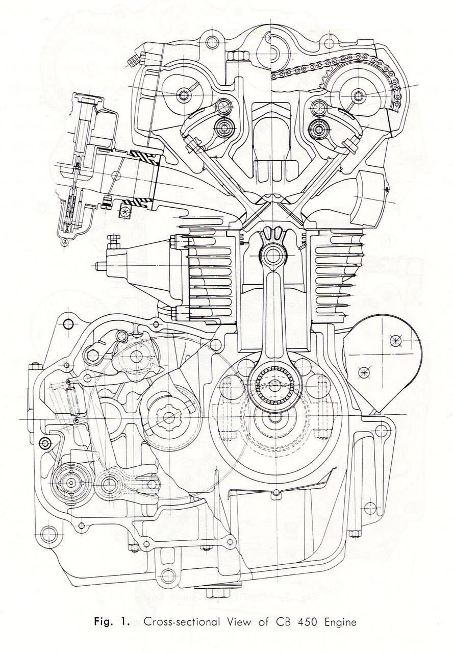 CB450 K0 engine cross-section drawing #illustration #