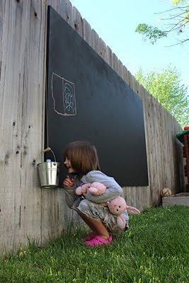 Backyard Chalkboard Less Mess And The Rain Washes It Away Such A Good Idea Have Your Party Guess Write Notesthen Photograph For Memories Before