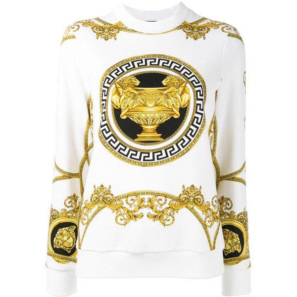 Versace La Coupe des Dieux sweatshirt (3.390 BRL) ❤ liked on Polyvore featuring tops, hoodies, sweatshirts, white, versace, versace sweatshirt, ribbed top, versace top and white sweatshirt