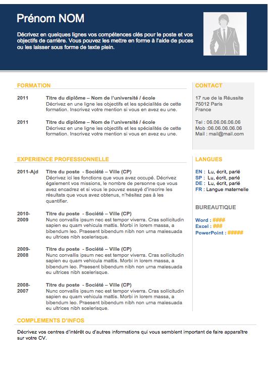 Modèle de curriculum vitae cadre Modèle cv, Exemple cv