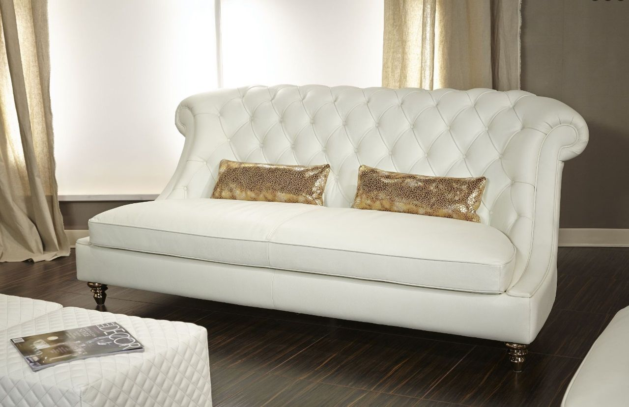 Aico Mia Bella Damario White Gold Leather Tufted Sofa Mb Dmrio15 Wht 99 Dizajn Kvartiry Divan Dizajn